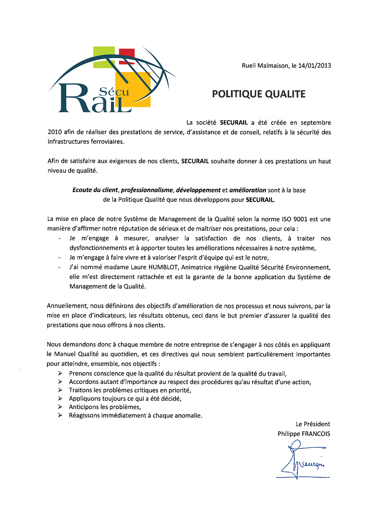Politique Qualit 233 Securail